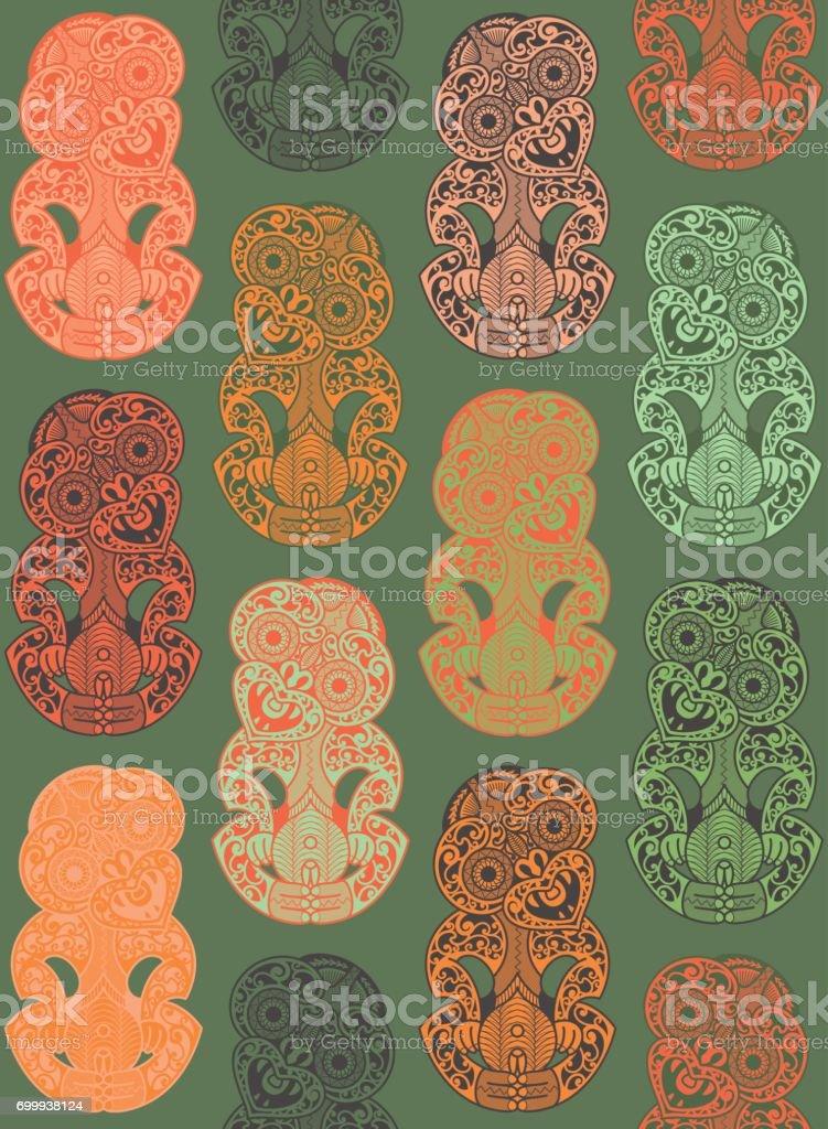 Hei-Tikis en naranja y verde jadeíta (patrón) - ilustración de arte vectorial