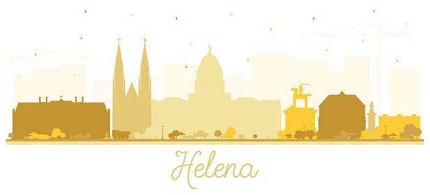 Helena Montana City Skyline Silhouette with Golden Buildings Isolated on White.