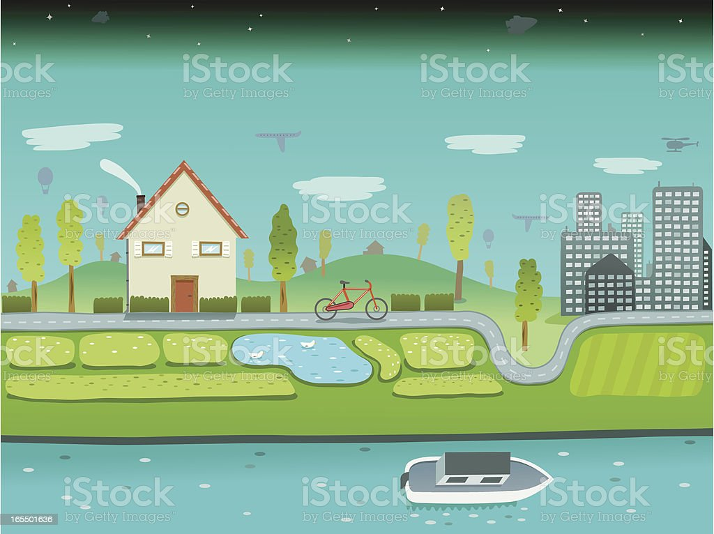 Helicopter, Airplanes, Hot Air Balloons, Bicycle and Boat Travel vector art illustration