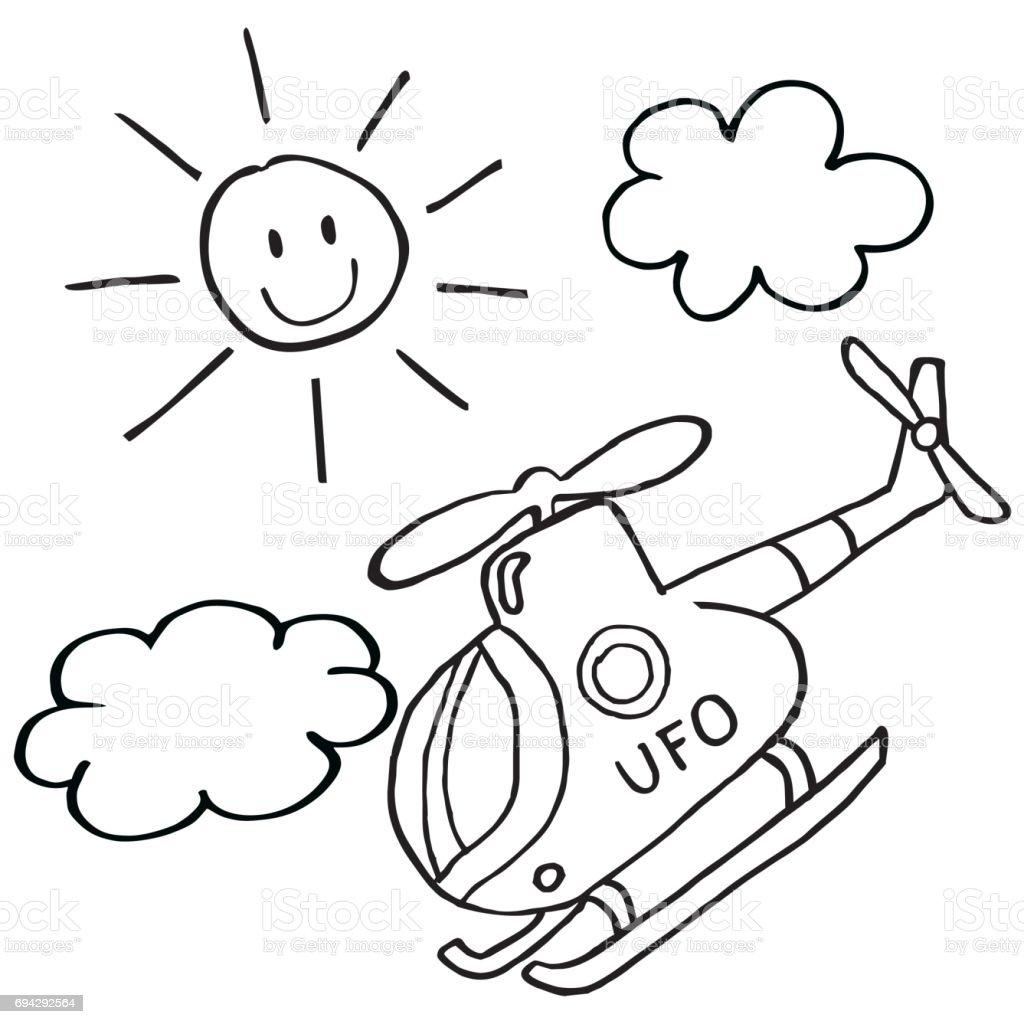Hubschrauber Sonne Und Wolken Stock Vektor Art Und Mehr Bilder Von