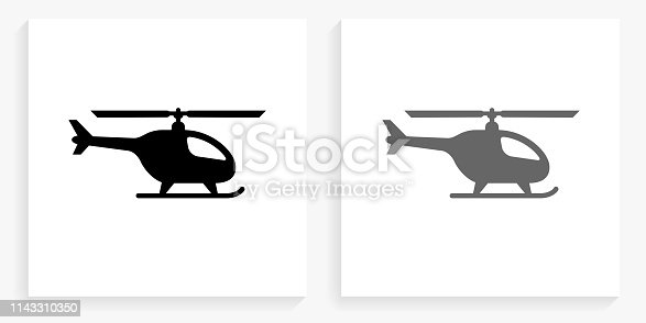 Helicopter Black and White Square Icon. This 100% royalty free vector illustration is featuring the square button with a drop shadow and the main icon is depicted in black and in grey for a roll-over effect.