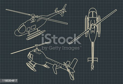 Stylized vector illustration of drawings of a civilian helicopter
