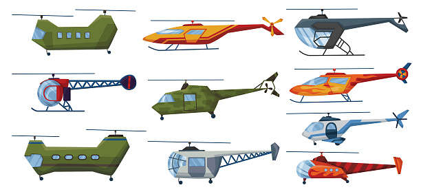 Helicopter cartoon aviation set. Avia transportation with propeller isolated on white. Vector copter aircraft rotor plane cargo. Civil and army military transport helicopters collection.