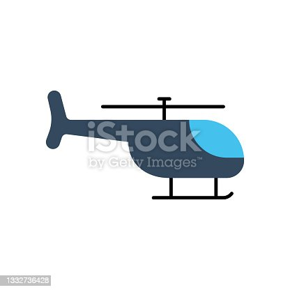 istock Helicopter Flat Icon. Flat Design Vector Illustration 1332736428