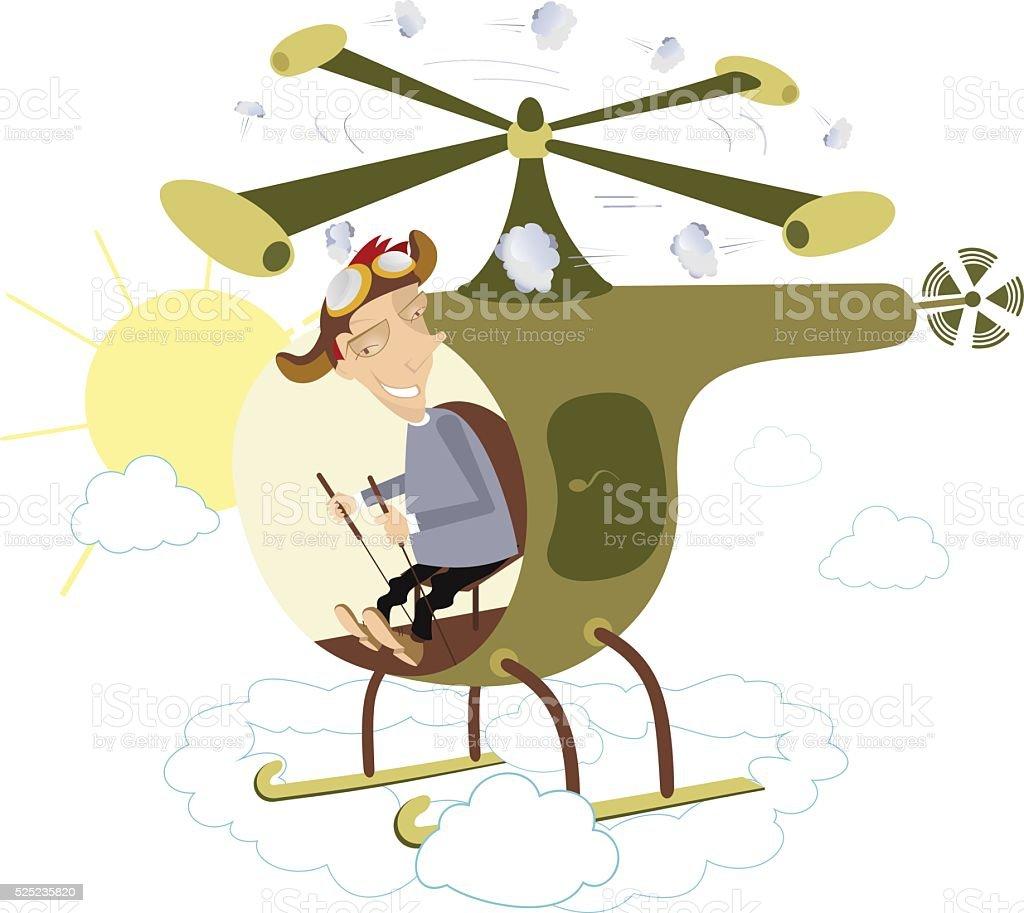 Helicopter flight vector art illustration
