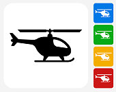 Helicopter Icon Flat Graphic Design