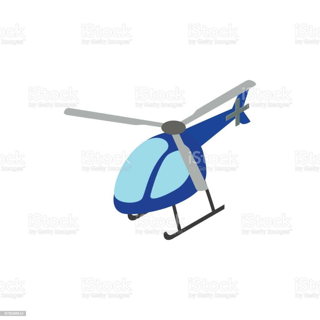 Helicopter icon, isometric 3d style vector art illustration