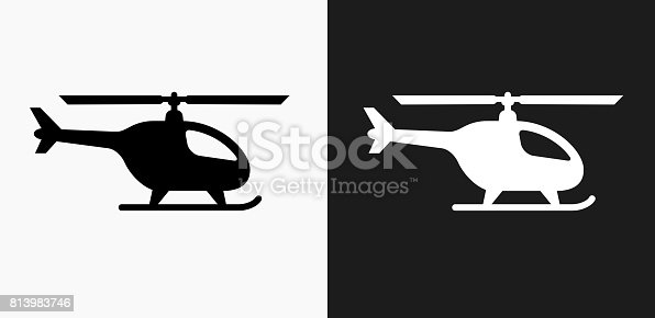 istock Helicopter Icon on Black and White Vector Backgrounds 813983746
