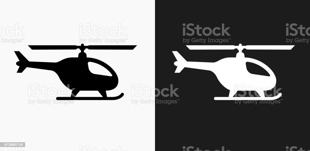 Helicopter Icon on Black and White Vector Backgrounds vector art illustration