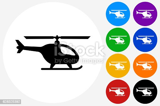 Helicopter Icon on Flat Color Circle Buttons. This 100% royalty free vector illustration features the main icon pictured in black inside a white circle. The alternative color options in blue, green, yellow, red, purple, indigo, orange and black are on the right of the icon and are arranged in two vertical columns.