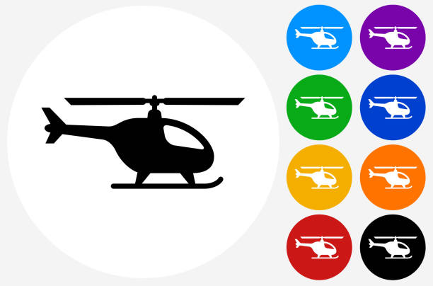 helicopter icon on flat color circle buttons - chopper stock-grafiken, -clipart, -cartoons und -symbole