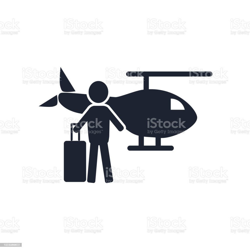 helicopter icon vector sign and symbol isolated on white background