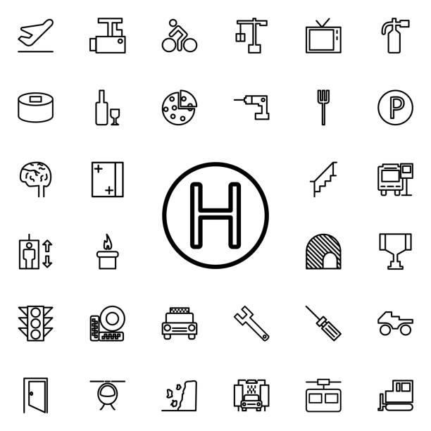 bildbanksillustrationer, clip art samt tecknat material och ikoner med helikopter landning webbplats ikonen. detaljerad uppsättning minimalistiska linje ikoner. premium grafisk design. en av samling ikoner för hemsidor, webbdesign, mobilapp - traktor pulling