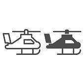 Helicopter line and solid icon. Army chopper or air transportation vehicle symbol, outline style pictogram on white background. Military sign for mobile concept and web design. Vector graphics