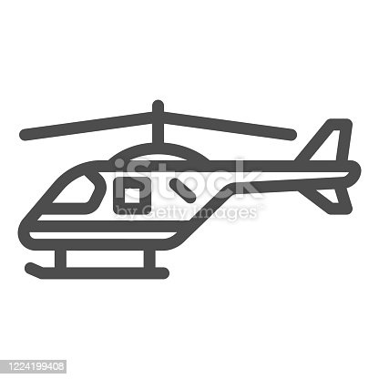 Helicopter line icon, air transport symbol, copter vector sign on white background, small helicopter silhouette icon in outline style for mobile concept and web design. Vector graphics
