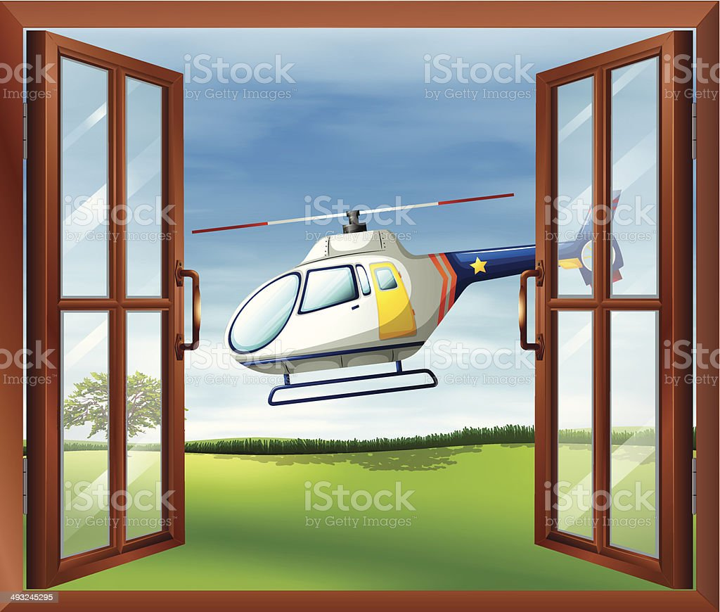 Helicopter outside the window vector art illustration