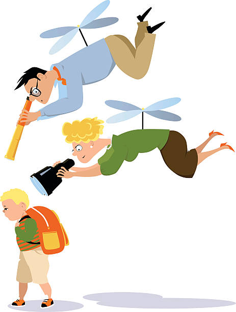 Helicopter parenting Helicopter parents hovering over a child with a telescope and a binoculars, EPS 8 vector illustration parenting stock illustrations