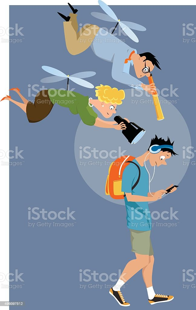 Helicopter parents of a teenager vector art illustration