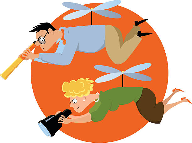 Helicopter parents Overprotective couple hovering with a telescope and a binoculars, watching over their children, EPS 8 vector illustration, no transparencies  parenting stock illustrations