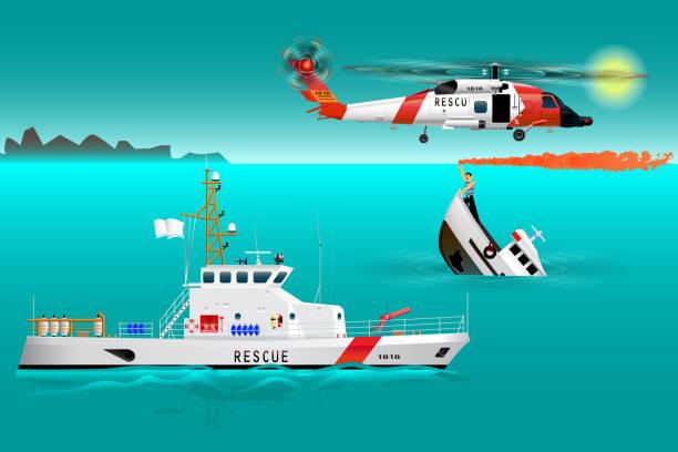 hubschrauber-rettungsmannschaften und schiff auf hoher see. küste-sicherheit. sinkende schiff. matrose nimmt ein notsignal. der unfall auf dem wasser. auf dem wasser zu retten - gesunken stock-grafiken, -clipart, -cartoons und -symbole
