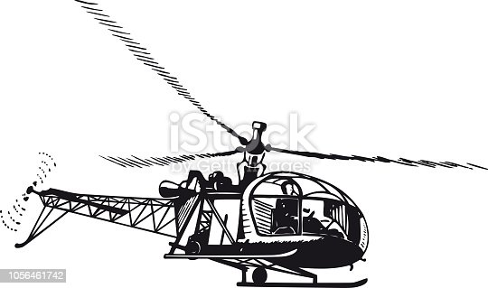 Helicopter, Retro and Vintage Illustration in the typical Swiss Illustration Style of the Fifties, Sixties and Seventies
