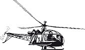 Helicopter, Retro Vector Illustration