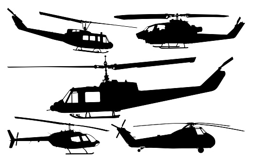 A collection of different military and civilian helicopter silhouettes.