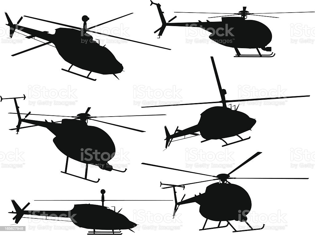 Helicopter Silhouette Collection vector art illustration