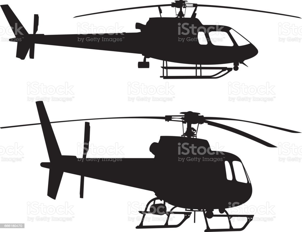 Helicopter Silhouettes vector art illustration