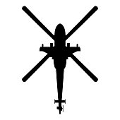 Helicopter top view Battle helicopter icon black color vector illustration flat style simple image