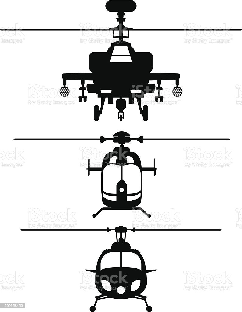 Helicopters frontviews silhouettes vector art illustration