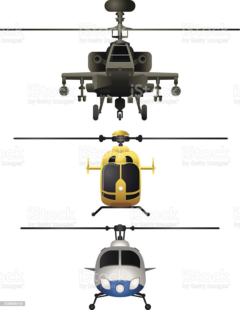 Helicopters frontviews vector art illustration
