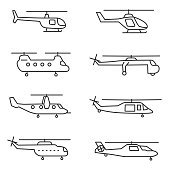 helicopters icons set. Editable stroke.