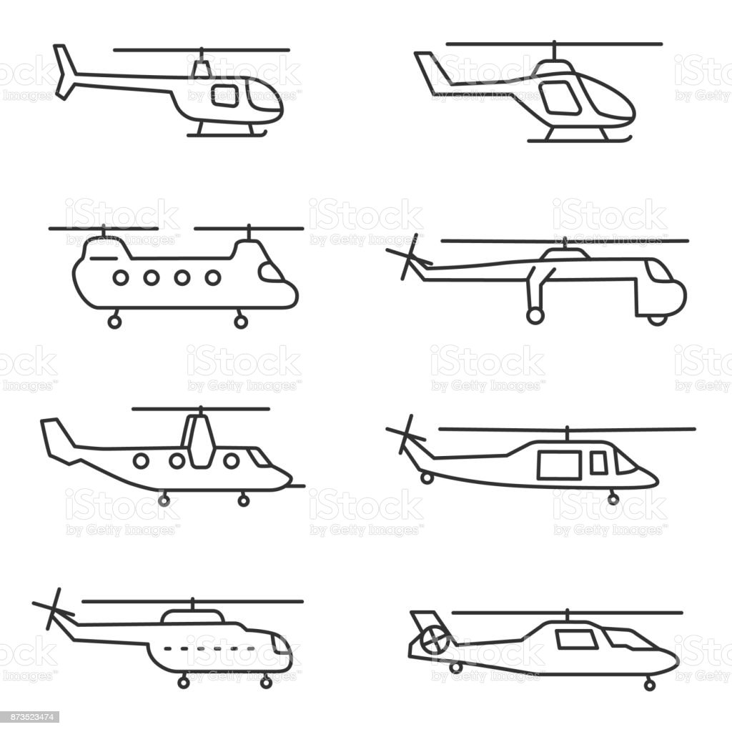helicopters icons set. Editable stroke. vector art illustration