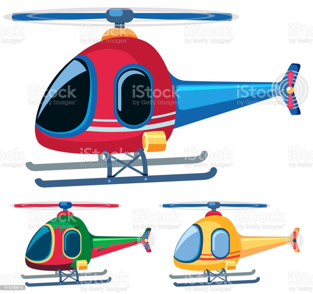 Hubschrauber in drei designs – Vektorgrafik