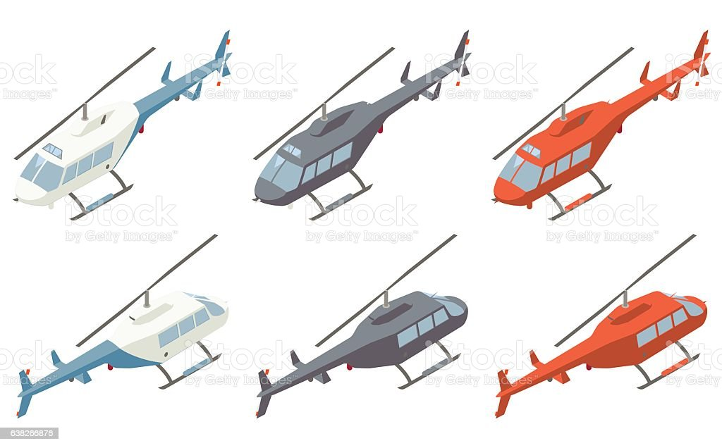 Helicopters Isometric Illustration vector art illustration