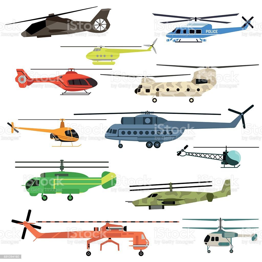 Helicopters vector set vector art illustration