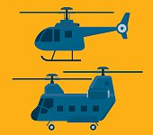 Helicopters vector set. illustrator 10 eps file