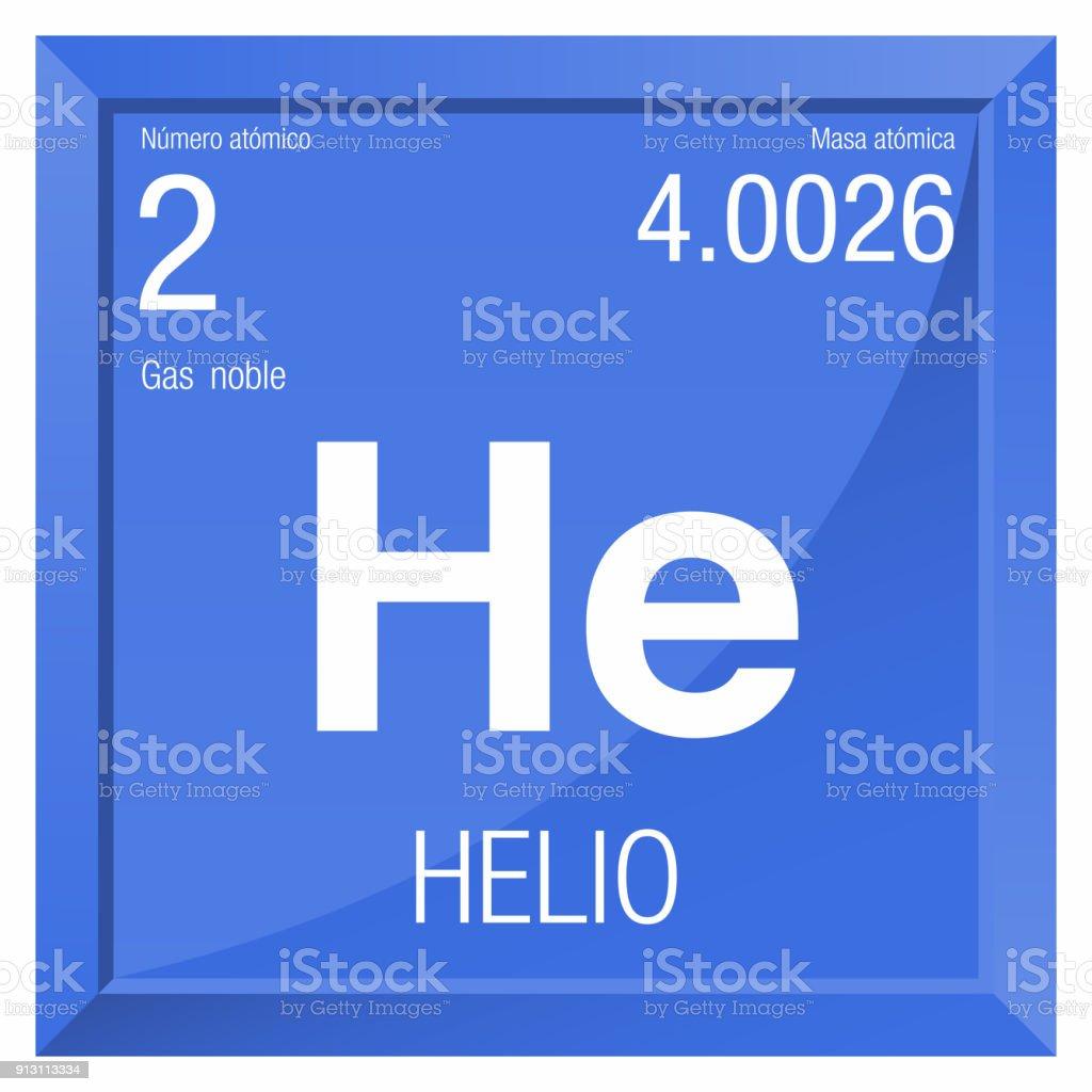 Helio Symbol Helium In Spanish Language Element Number 2 Of The