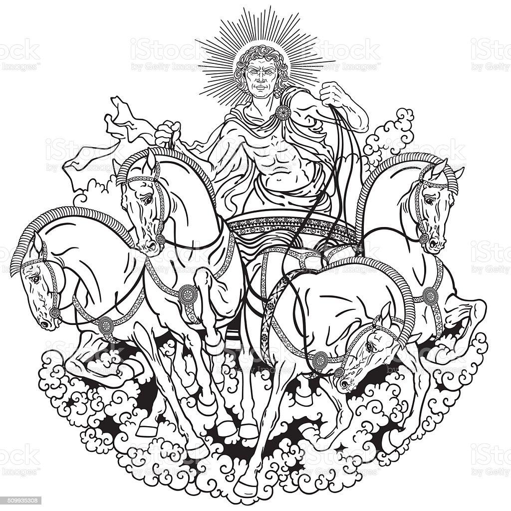 helios black and white vector art illustration