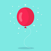 Helium balloon, air balls flying with string. Happy birthday, holiday concept. Party decoration. Vector cartoon design