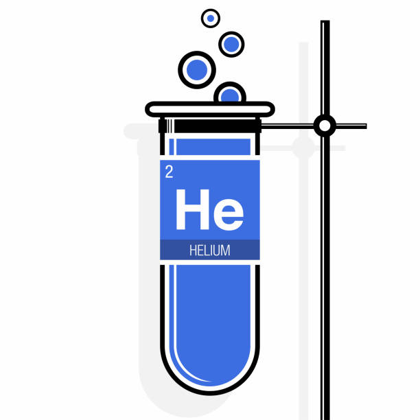 Helium Symbol On Label In A Blue Test Tube With Holder Element