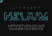 Helium vector minimalist futuristic linear alphabet, typeface, letters, font, typography
