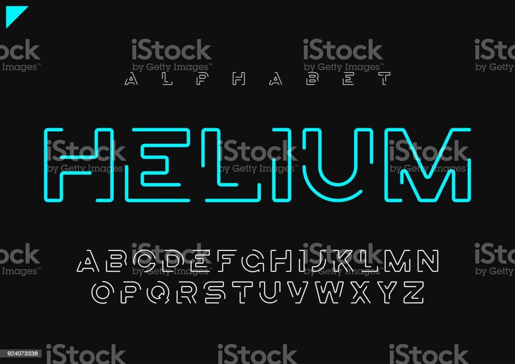 Helium vector minimalist futuristic linear alphabet, typeface, letters, font, typography vector art illustration