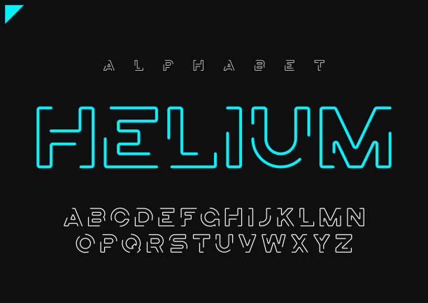 helium vector minimalist futuristic linear alphabet, typeface, letters, font, typography - alphabet designs stock illustrations