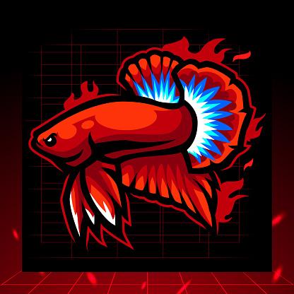 Hell boy betta fish mascot. esport logo design