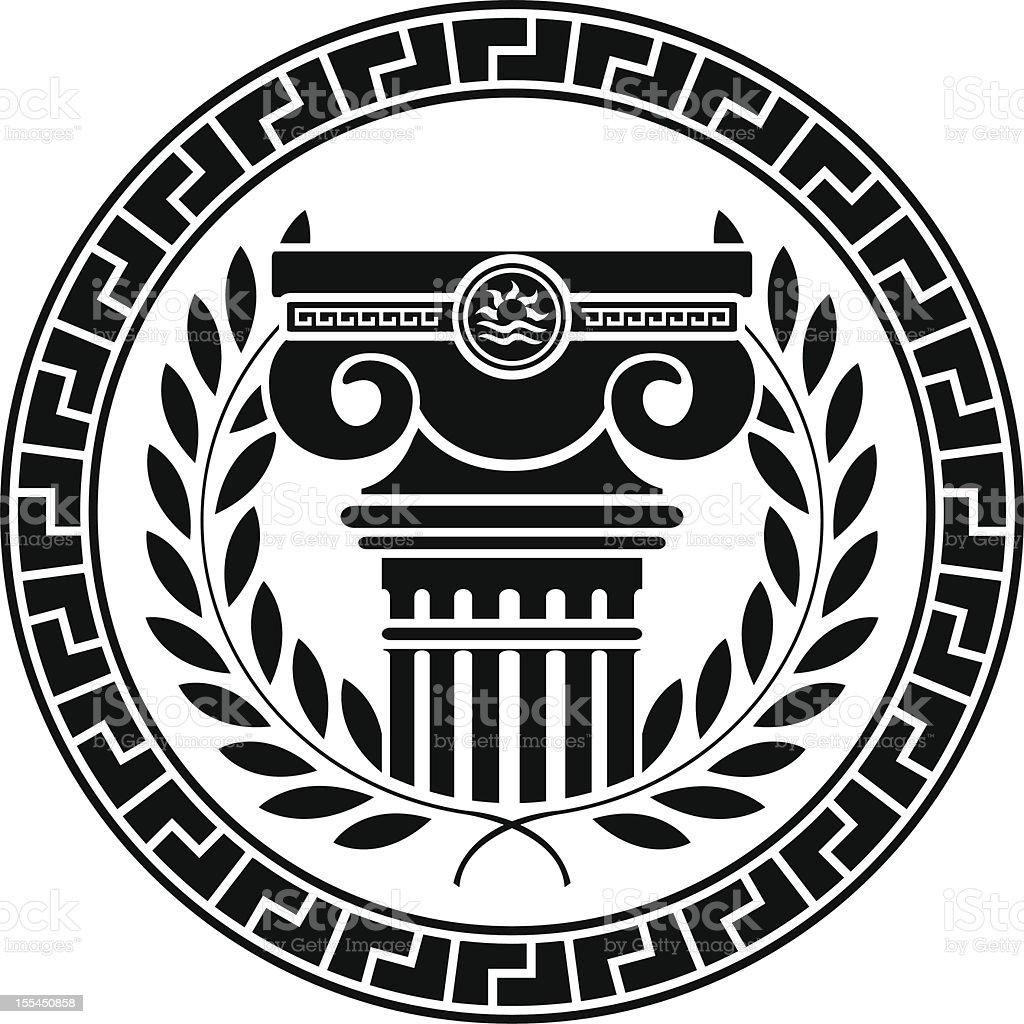 hellenic column and laurel wreath vector art illustration