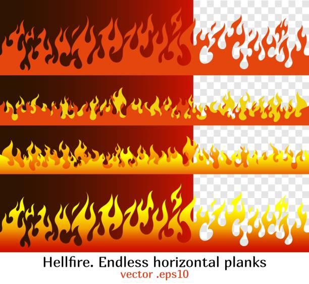 stockillustraties, clipart, cartoons en iconen met hellfire, rode vlam elementen voor de eindeloze rand - illustraties van bosbrand