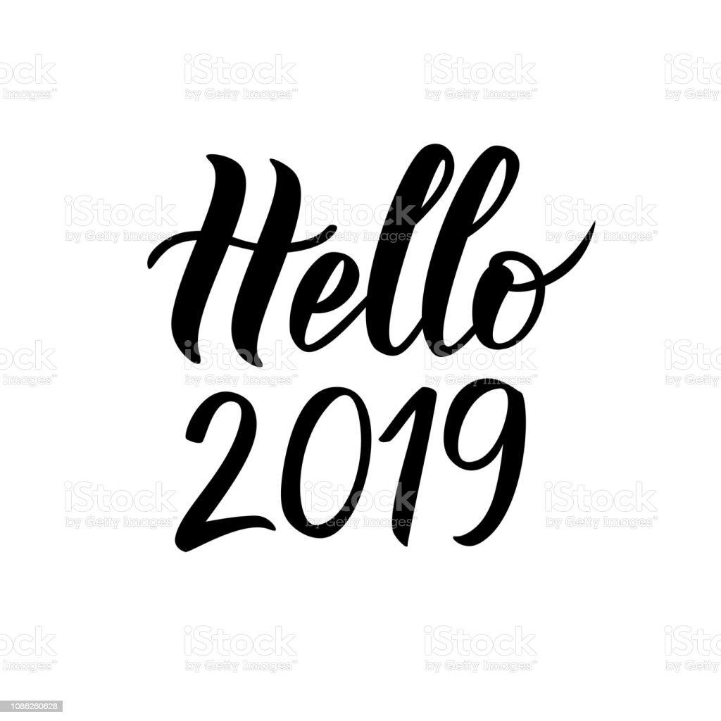 Hallo 2019 Hand Schriftzug Text Gut Für Karten Flyer