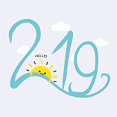 Hello 2019 word and cute sun smile cartoon vector illustration